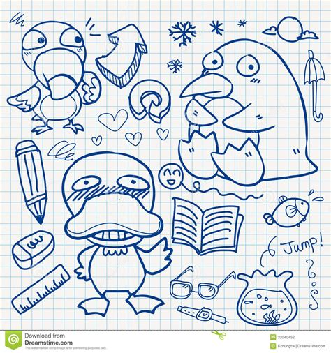 doodle on paper notebook paper doodles stock vector illustration of