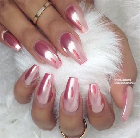 chrome nails chrome rose coffin nails nails pinterest coffin