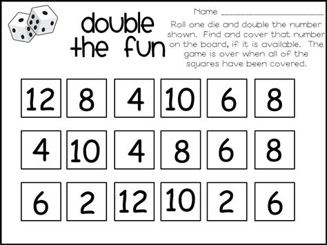 printable ordering numbers game 15 best images of roll dice worksheet 2 digit addition