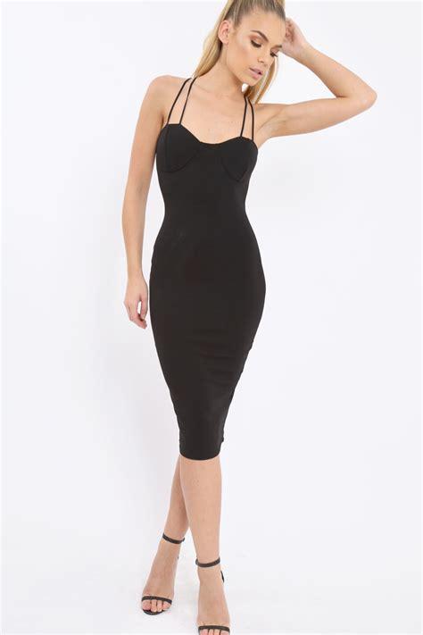 Dress Helsa black bra cup detail midi dress helsa