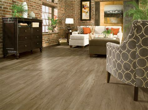 your floor and decor flooring vintage living room with brick wall and coretec