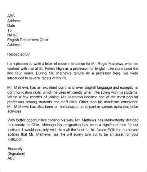 Reference Letter For Colleague Sle Letters Of Recommendation For 12 Documents In Word