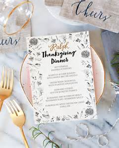 thanksgiving menu template printable illustrated printable thanksgiving dinner menu