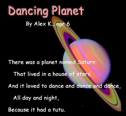 describe how saturn was named graphic version of the poem planet with false