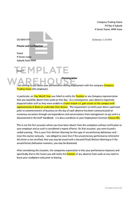hrm employee warning letter template warehouse