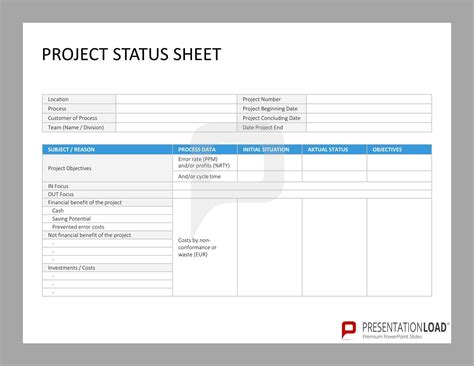 project sheet template project status sheet six sigma powerpoint templates