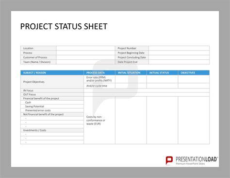 Project Status Sheet Six Sigma Powerpoint Templates Http Www Presentationload Com Six Project Sheet Template