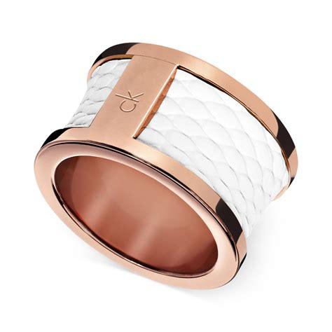 Calvin Klein Rantai Rosegold calvin klein ck gold pvd white leather barrel ring in pink lyst