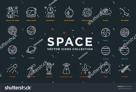 thin space 100 thin space space thin line icons stock vector