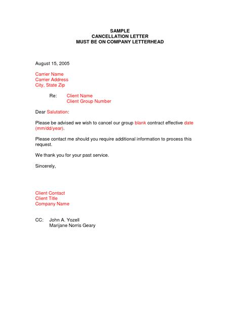 Cancellation Notice Format Cancellation Letter Sles Writing Professional Letters