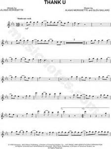 Thank You Note To Violin Alanis Morissette Quot Thank U Quot Sheet Flute Violin Oboe Or Recorder In Eb Major