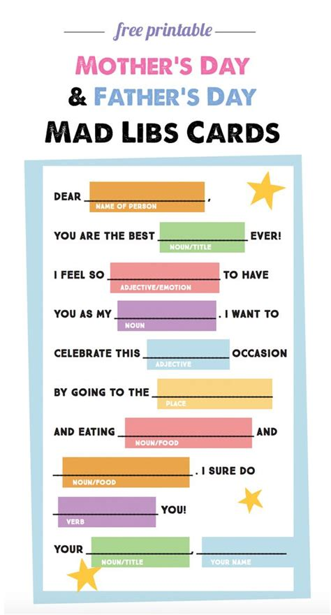 free template thank you s day card craft free mad libs mad libs and s day on