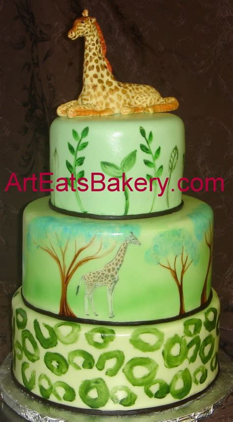 Jungle Theme Baby Shower Cakes by Custom Three Tier Jungle Theme Baby Shower Cake With