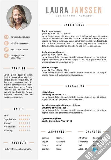 Buy Cv Template by 2 Page Cv Template In Ms Word Matching Cover Letter