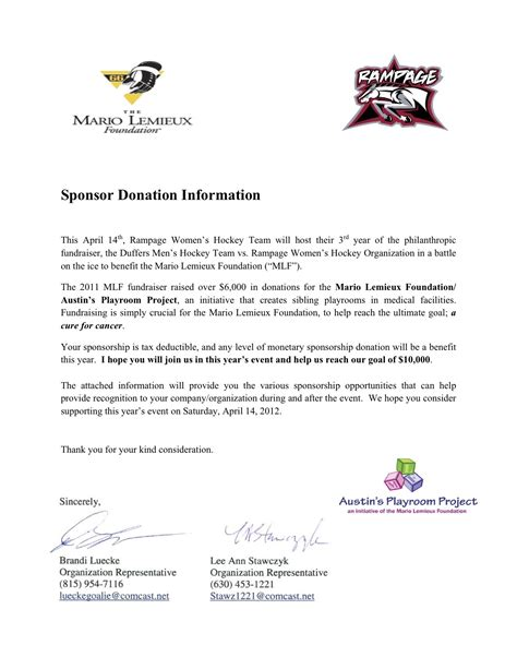 Sponsorship Letter Guide Sle Donation Request Letters For Sports Teams Best