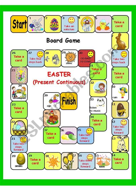 Easter Plus easter plus present continuous board key 3 pages