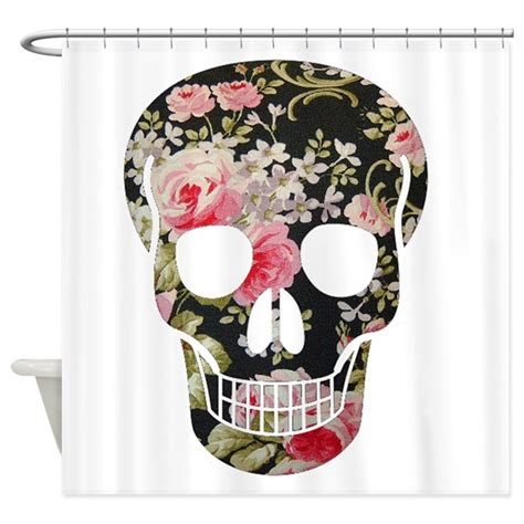 skull curtains uk roses skull shower curtain by theartofvenus
