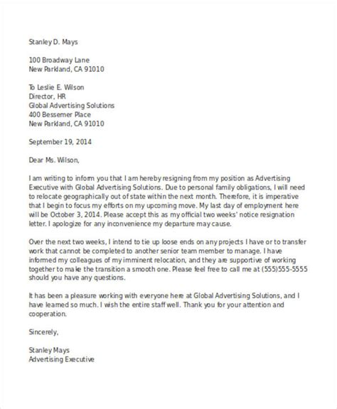 Official Letter Notification 19 Two Weeks Notice Letter Exles Sles