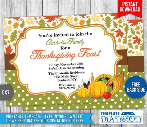 Free Thanksgiving Invitation Templates by Thanksgiving Invitation Template 2 By Templatemansion On