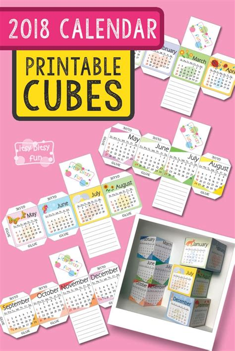 how to make a calendar 2018 printable 2018 calendar paper cubes itsy bitsy