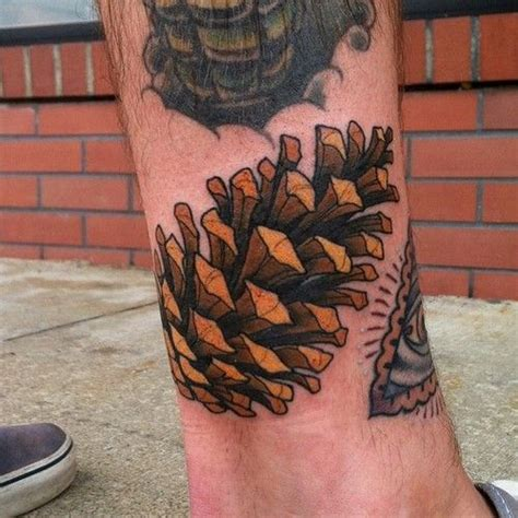 pine tattoo pine cone fall at black metal