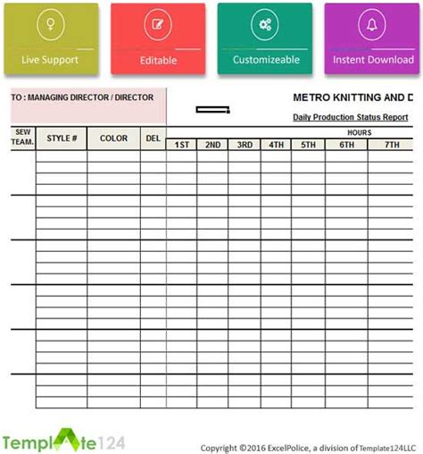 daily production report template xls daily production status report template excel template124