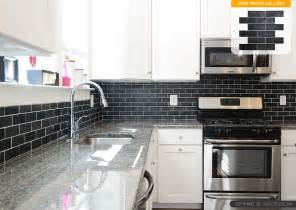 black subway tile kitchen backsplash white cabinet new caledonia granite black slate backsplash
