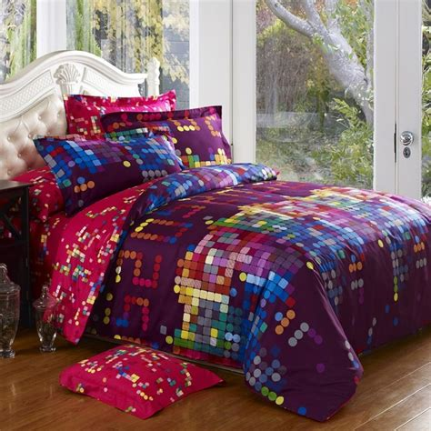 colorful bedding sets eggplant purple blue and pink colorful polka dots