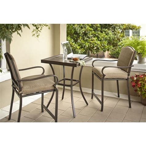 hton bay castle rock 3 piece patio high bistro set with