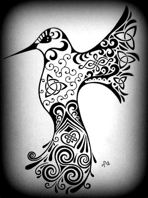 black and white hummingbird tattoo designs celtic hummingbird drawing custom black white by tarren