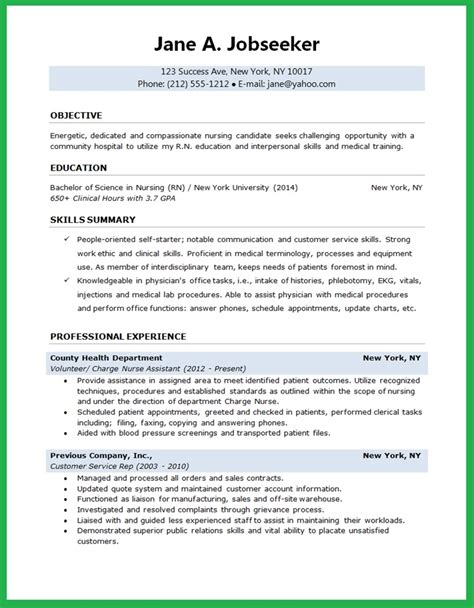 Resume Exles For Nursing Graduates Nursing Student Resume Creative Resume Design Templates Word Student Resume
