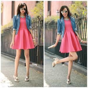 pink dress gold heels jean jacket