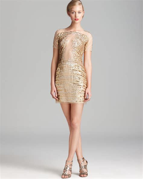 gold beaded dress basix black label beaded mesh dress sleeve in gold