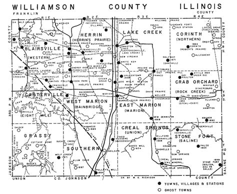 Williamson County Il Court Records Williamson County Illinois Town Ghost Town And Station Map Williamson