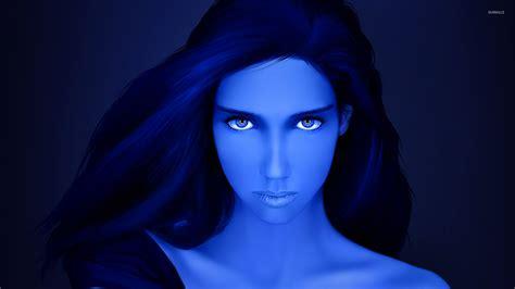 wallpaper blue girl beautiful blue girl with blue eyes wallpaper digital art