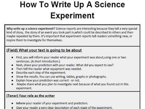 how to write a critique of a scientific paper genre booklet how to write up a science experiment by