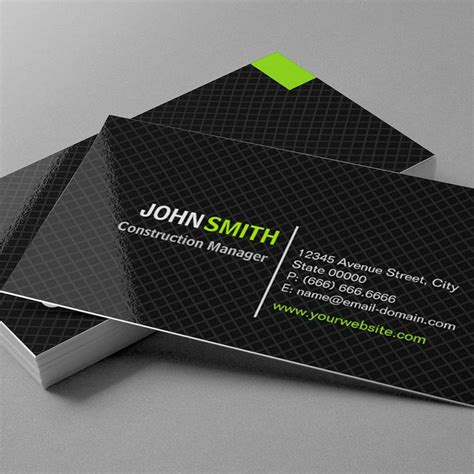 construction visiting card templates construction manager modern twill grid business card