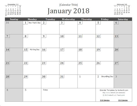 2018 monthly calendar template printable monthly calendar