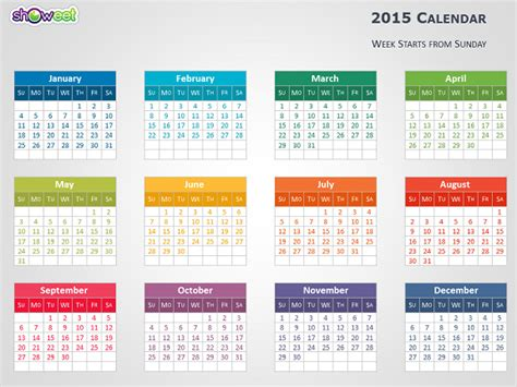Colorful 2015 Calendar For Powerpoint Powerpoint Calendar Template 2015