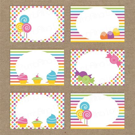 candyland cards template sweet shop land printable folding buffet cards