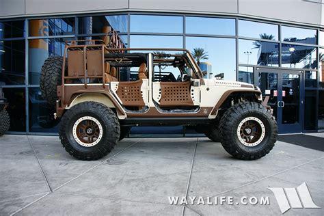 starwood jeep blue 2015 sema tan brown starwood motors jeep jk wrangler