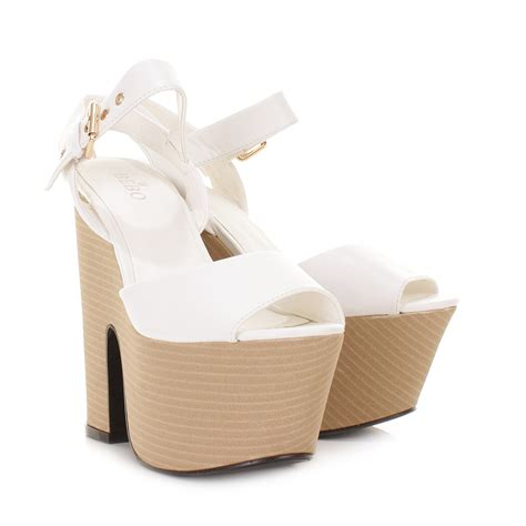 cheap high heel wedges womens white leather look demi wedge platform high heel