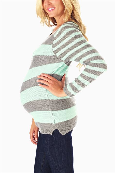 mint green knit sweater mint green grey striped knit maternity sweater