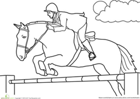 coloring pictures of horses jumping color the jumping worksheet education