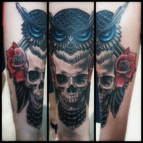 owl and skull tattoo owl skull forearm