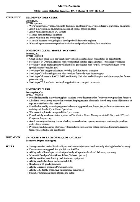 Warehouse Stocker Resume Sle by Inventory Clerk Description For Resume Annecarolynbird