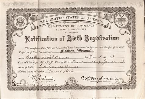 Wisconsin Birth Records Search Bruce Bertha Violet 1919 1968 Birth Certificate In