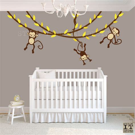 Monkey Wall Decals For Nursery Hanging Monkey Wall Decal Monkey Nursery Decor Monkey Decal