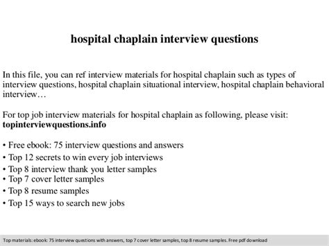 Sample Education Resumes by Hospital Chaplain Interview Questions