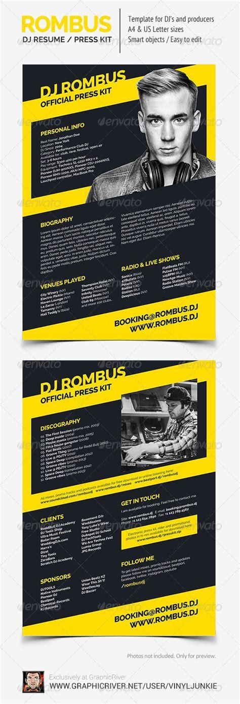 dj biography template dj resume layout